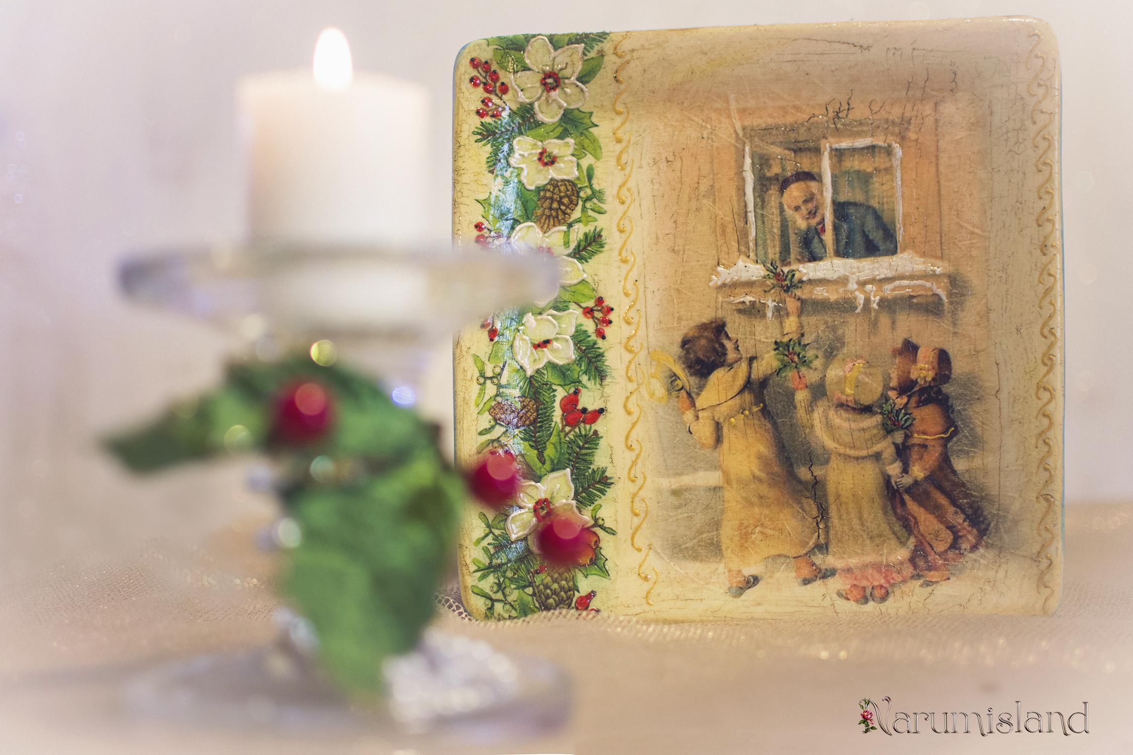 Farfurie decorativa cu copii si christmas berry