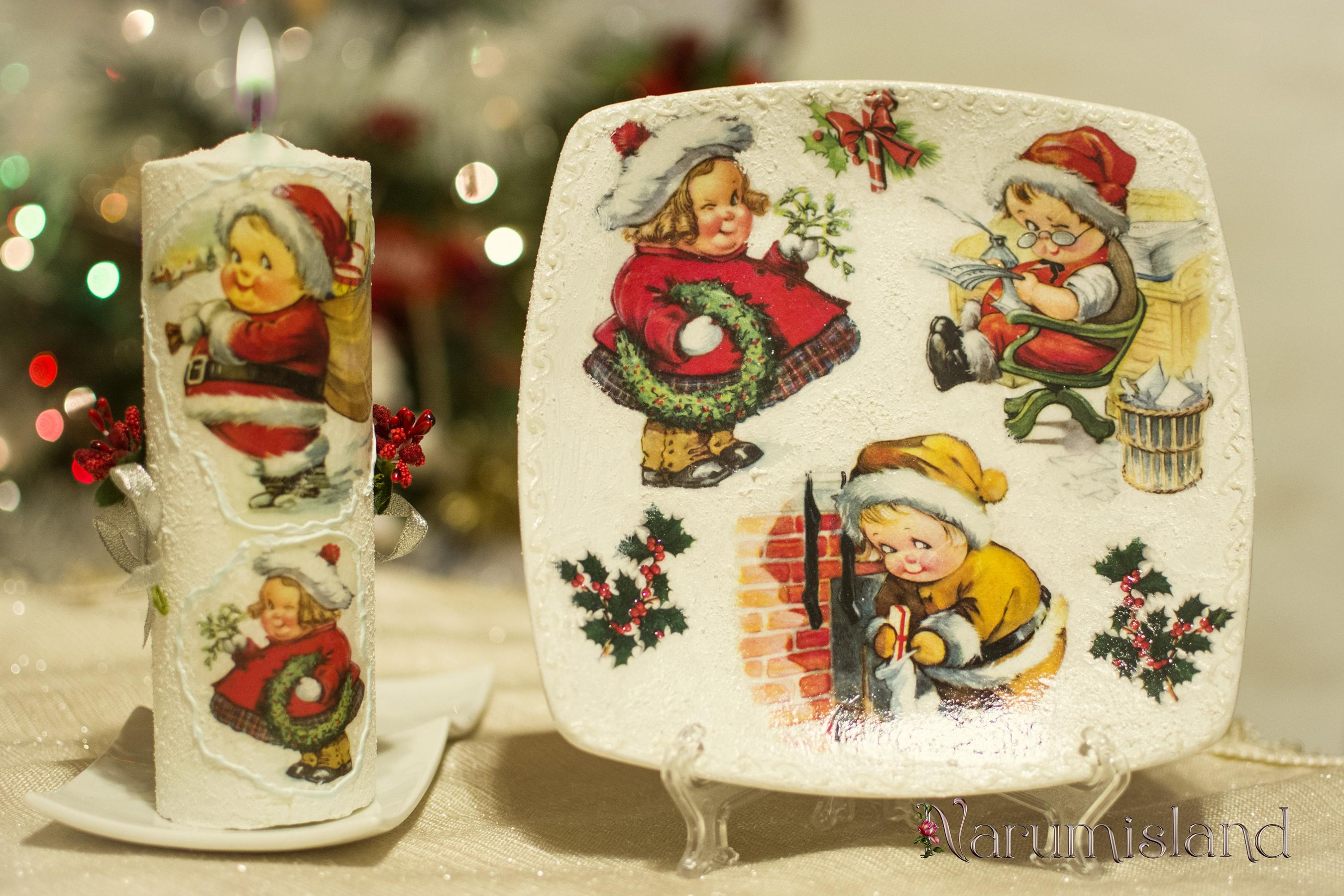 cadou de sarbatori: farfurie si lumanare decorativa