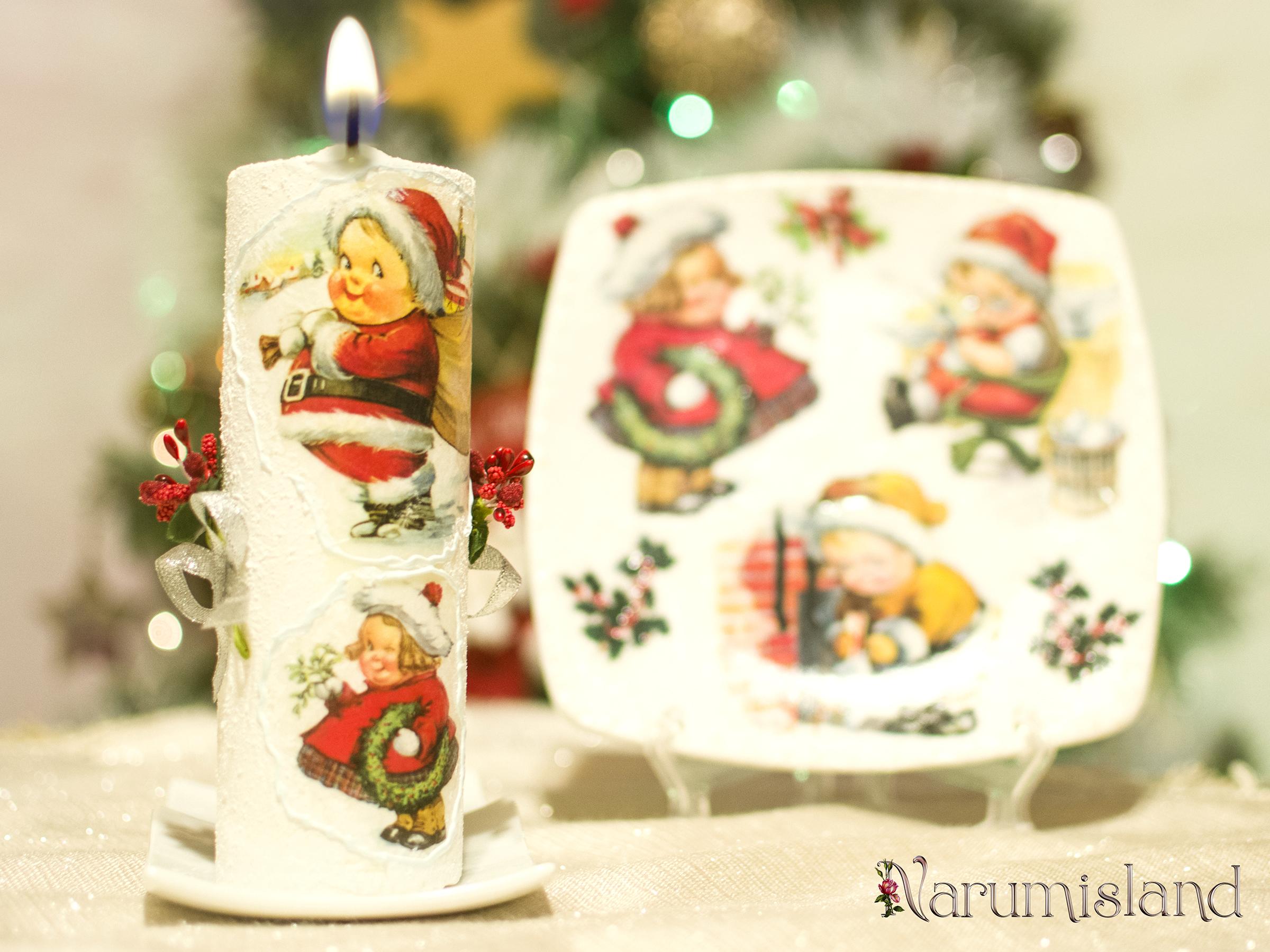 Cadou de sarbatori: Ajutoarele lui Mos Craciun lumanare decorativa