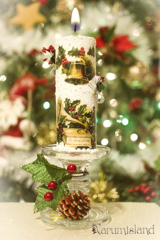 Lumanare decorativa cu ilex si clopotei