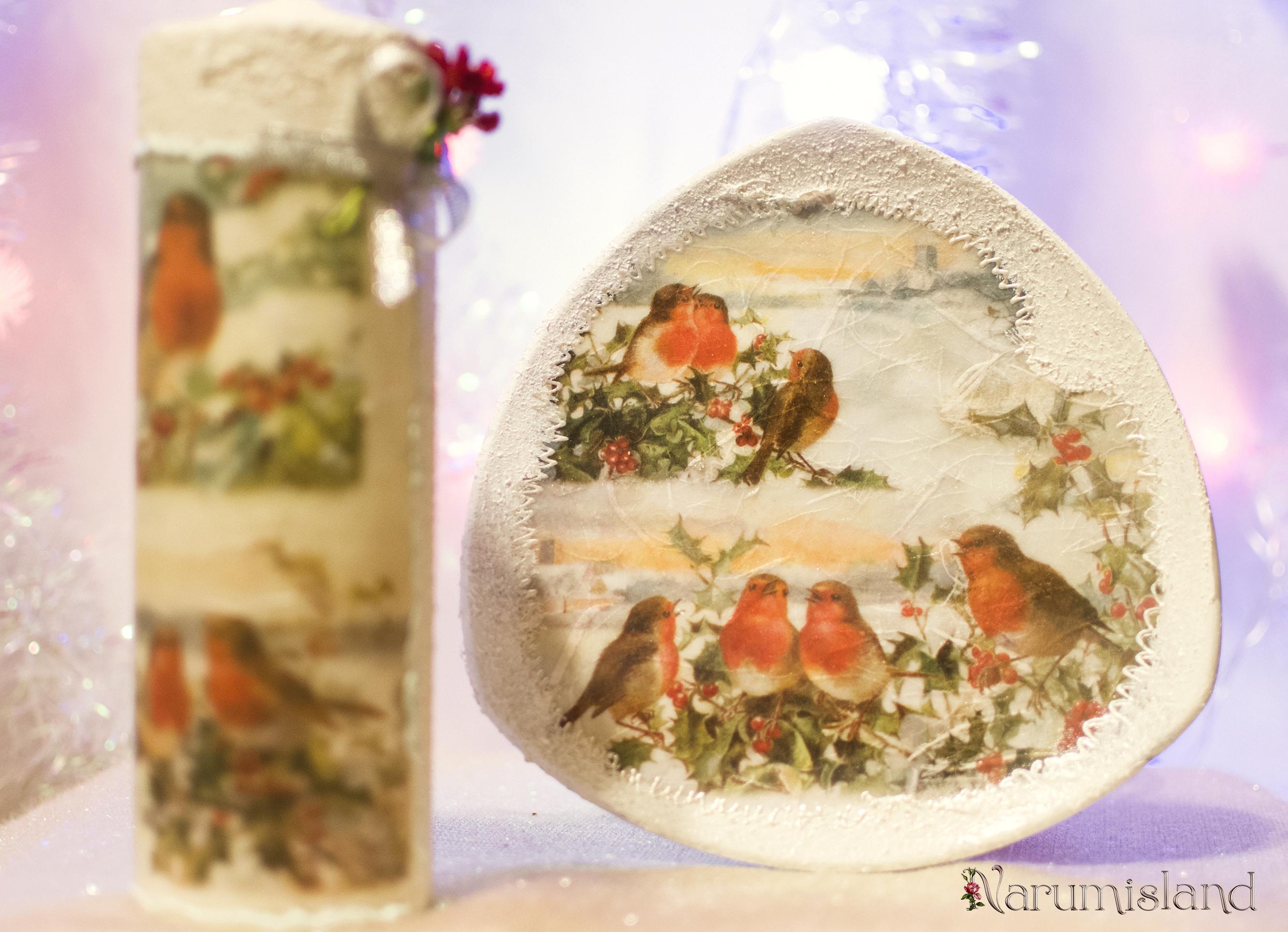 Farfurie decorativa cu pasarele, iarna
