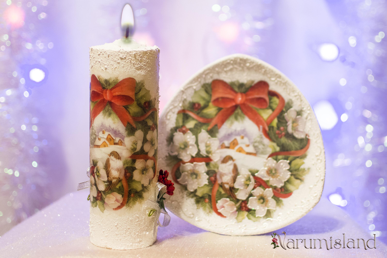 Flori si pasari: lumanare decorativa si farfurie decorativa