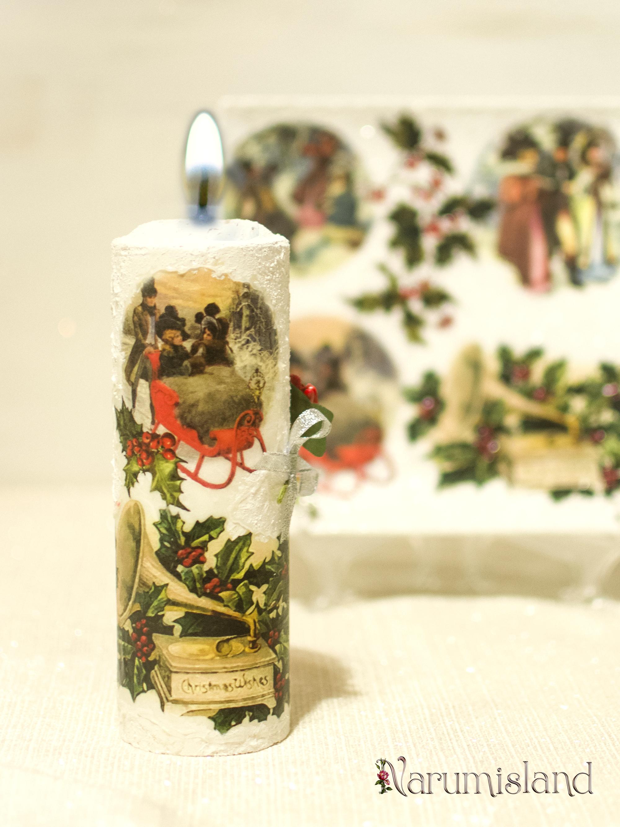 Lumanare decorativa: Scene de iarna cu tineri in padure