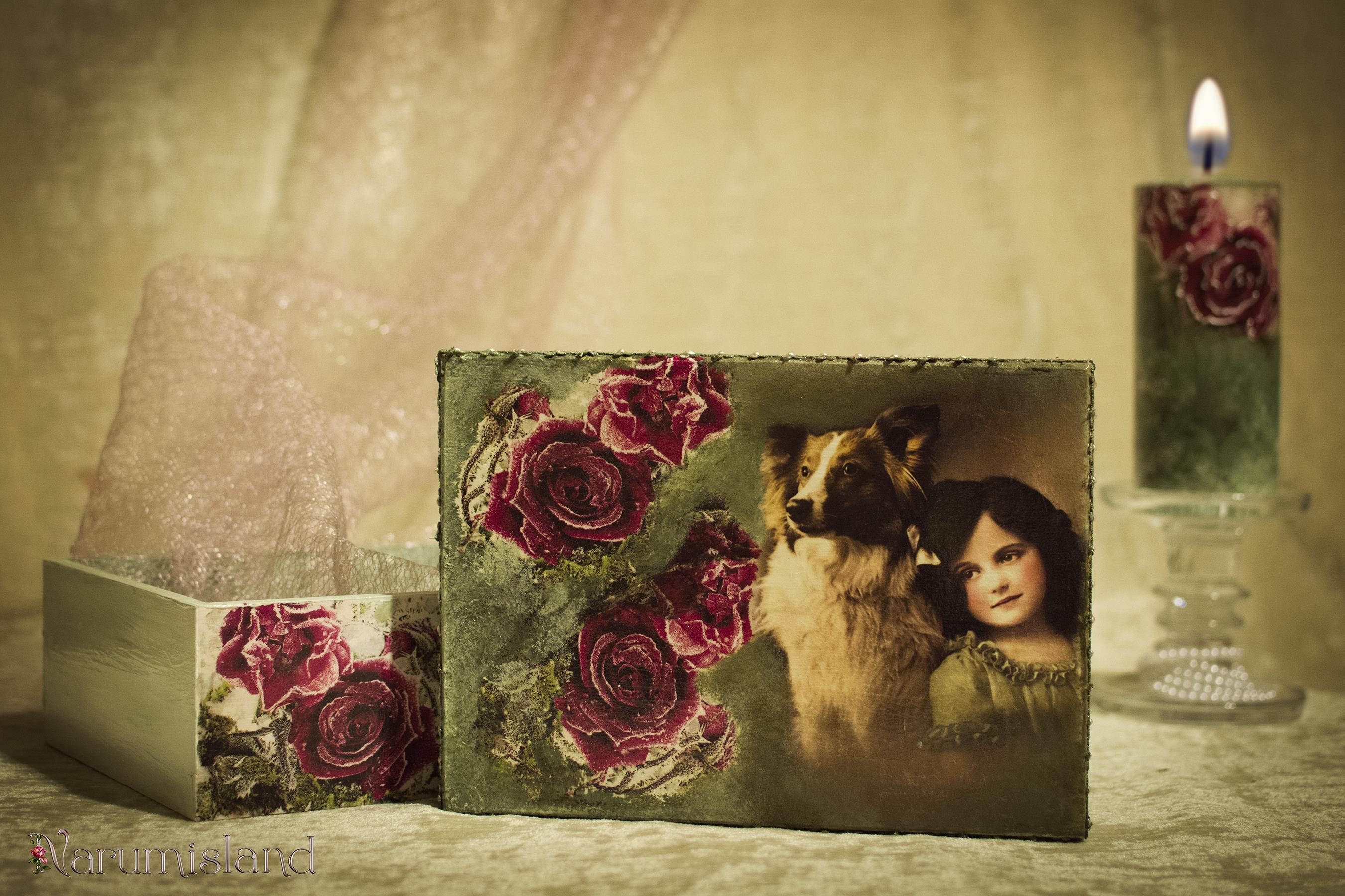 cutie decorativa cu trandafiri si fetita cu catel_foto1