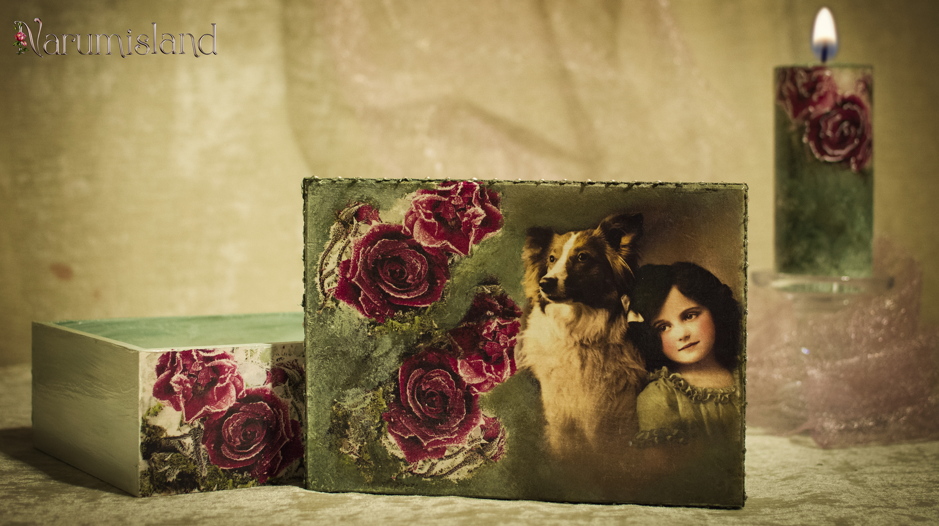 cutie decorativa cu trandafiri si fetita cu catel_foto2