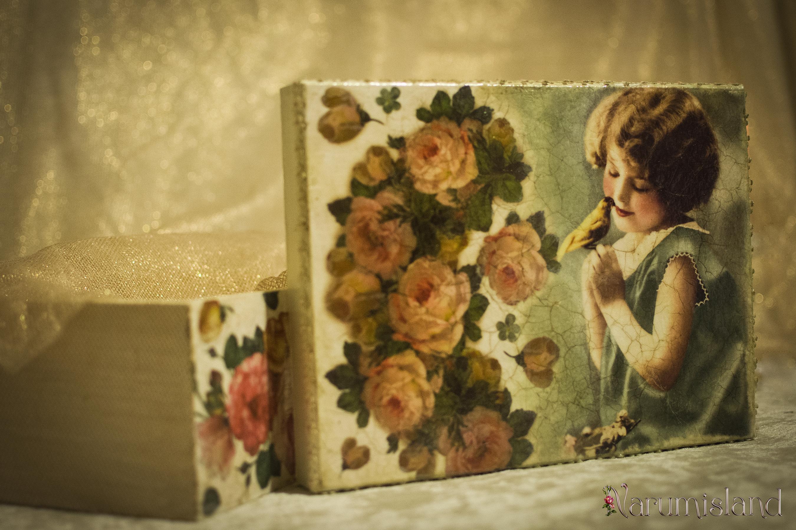 Fetita cu pasare si trandafiri, cutie decorativa_foto1