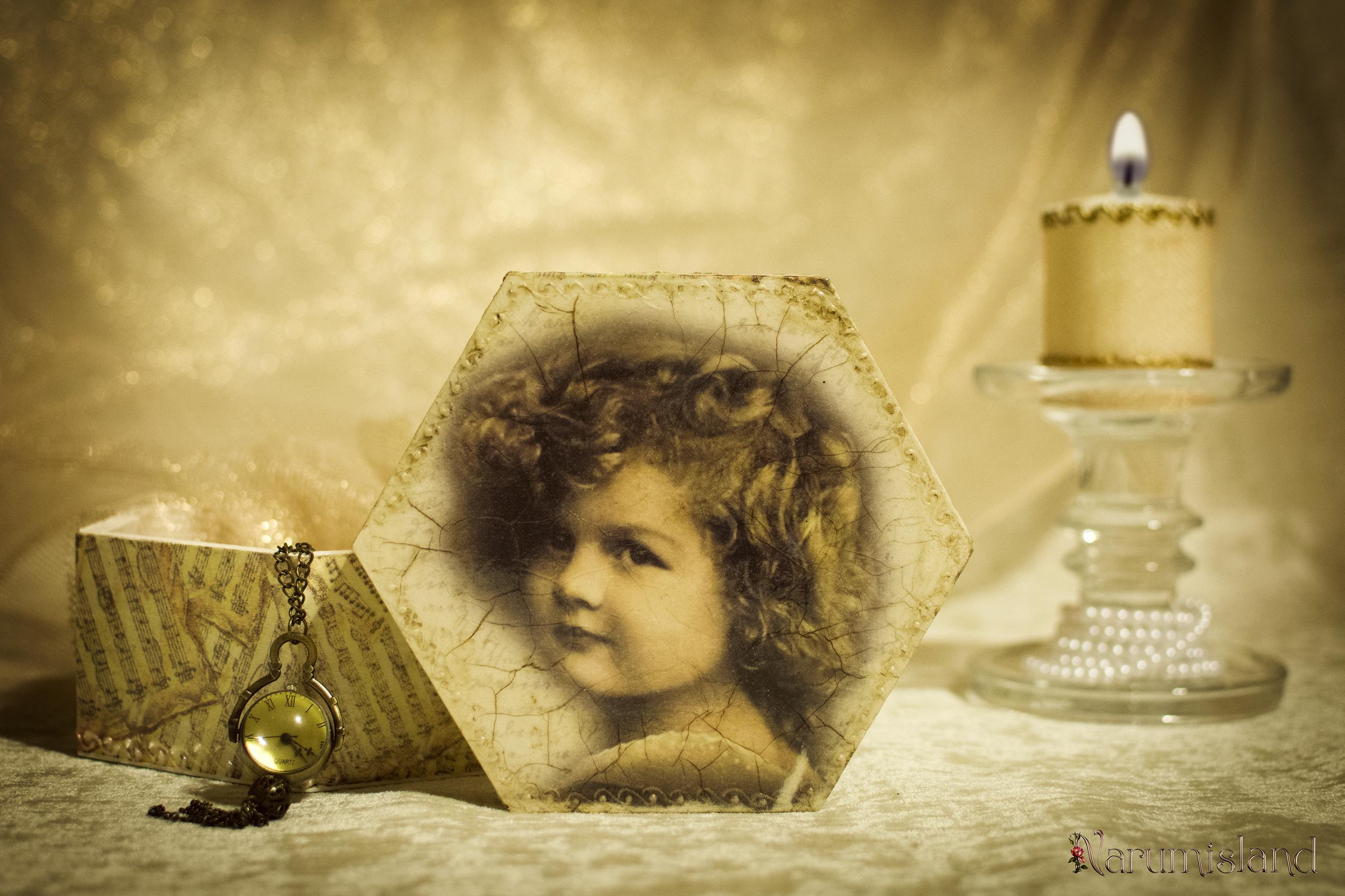 Cutie decorativa cu fetita si note muzicale_foto1