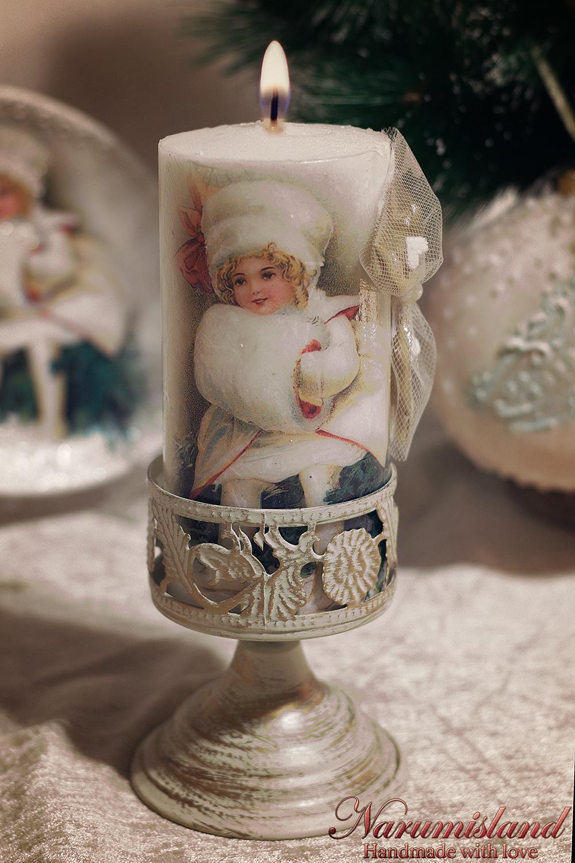 Lumanare Decorativa, Cu Fetita Vintage Si Funda Aurie