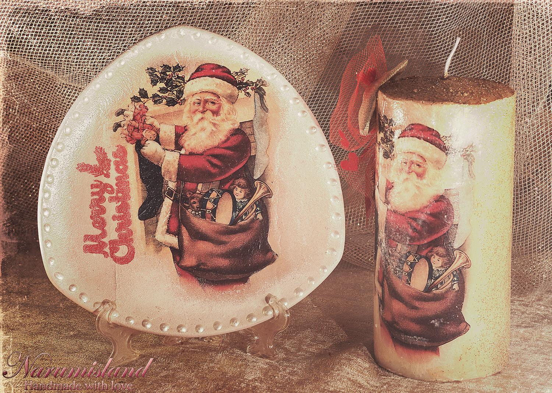 Farfurie Si Lumanare Decorativa Cu Santa