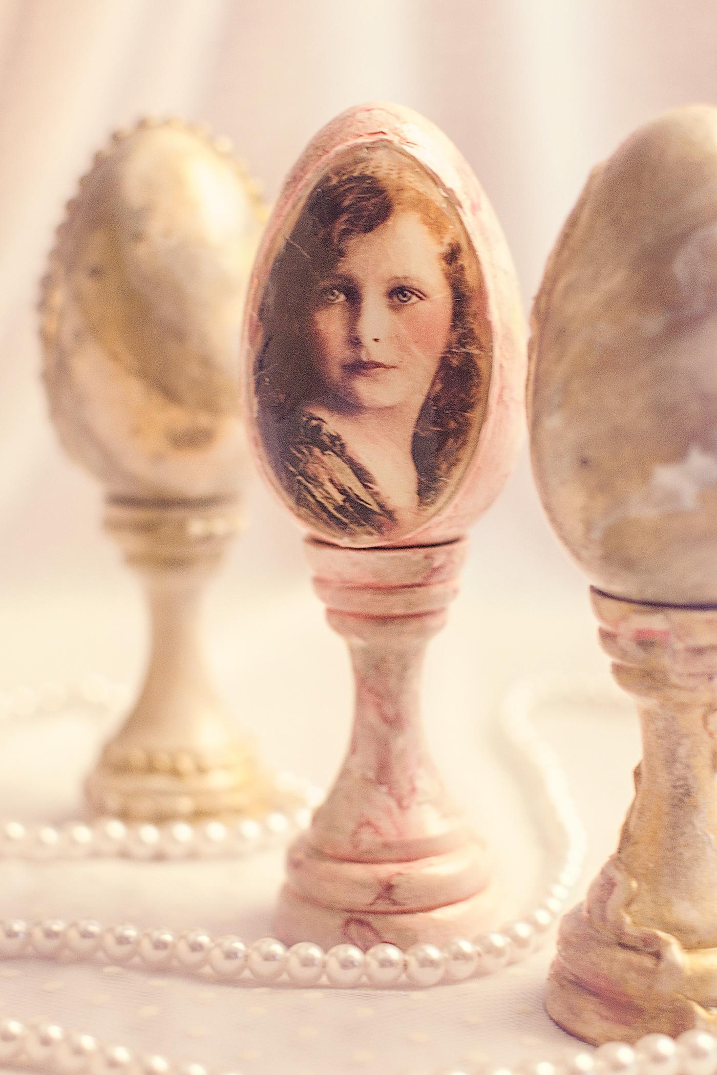 Ou Decorativ De Paste, Aspect Marmura Si Fetita Vintage
