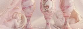 Oua decorative roz cu suport