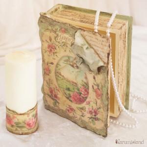 cutie carte veche, decorativa, aspect piele cu tranbdafiri