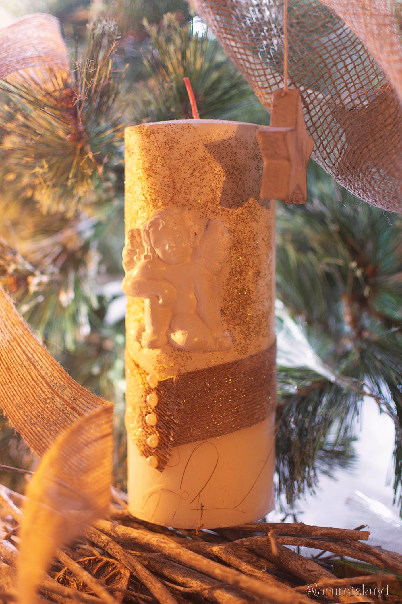 Lumanare Handmade Craciun Cu Perlute Si Elemente 3d , Ingeras