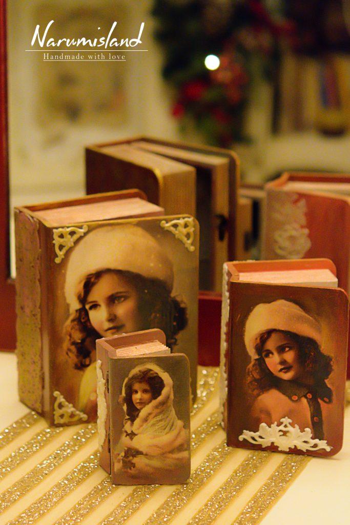 cutii carti cu fetite vintage
